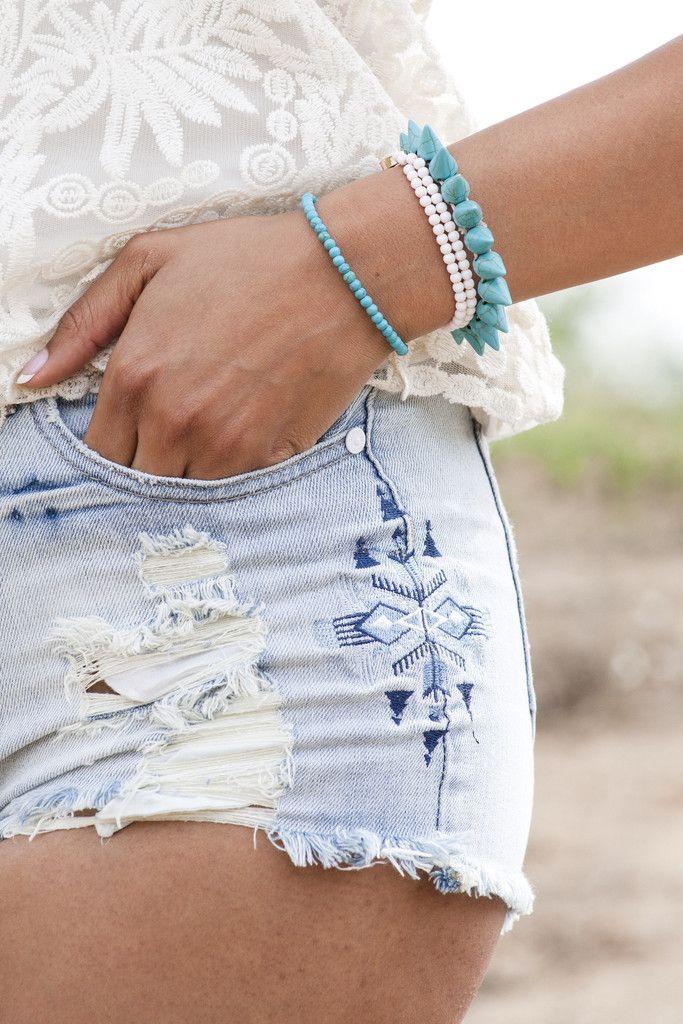Tribal Embroidered Denim Shorts