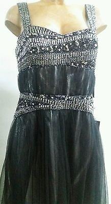 vestito abito donna tutto nero elegante argento corto lungo top gonna strass tg