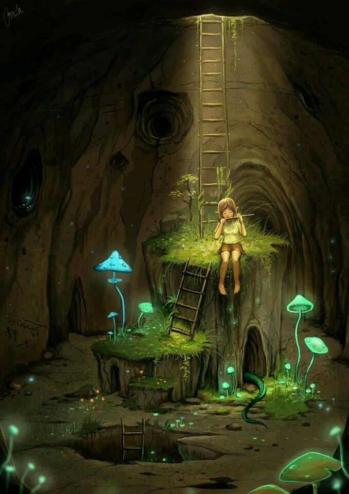 A corner of the underground world in the forest.