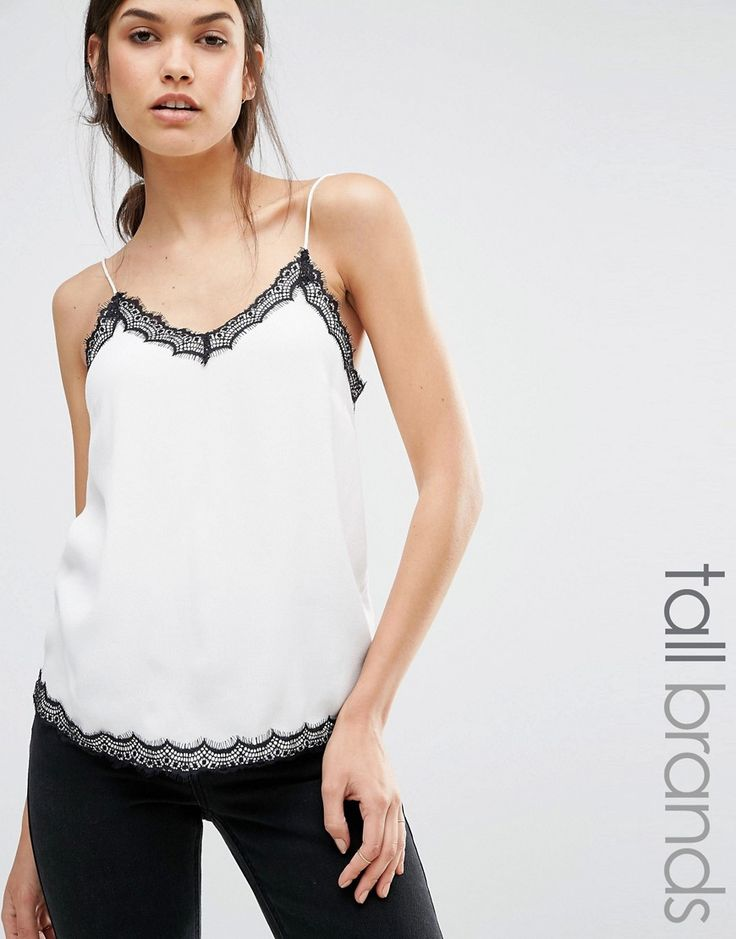 Image 1 of New Look Tall Lace Trim Cami Top