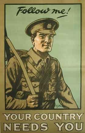 WW1 propaganda posters were used to pressure men.