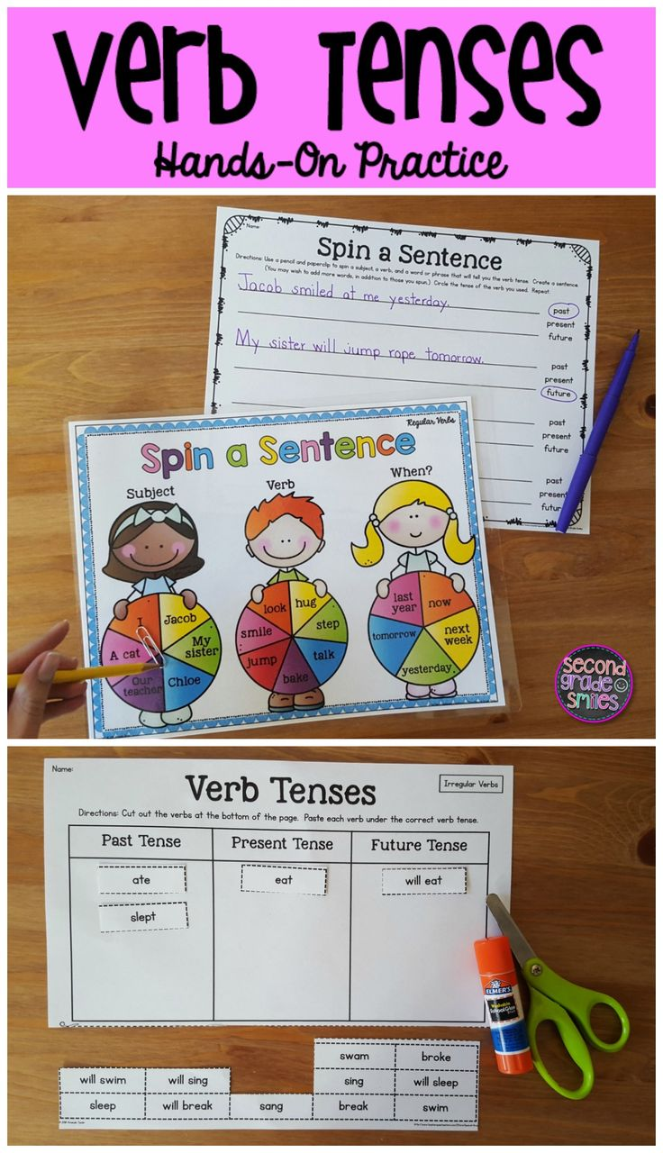 Verb Tenses- includes cut and paste activities, a spinner game, & task cards- perfect for literacy centers! $