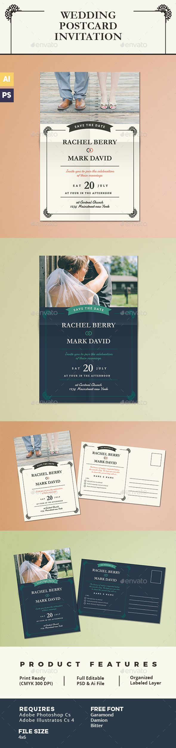 Elegant Wedding Invitation Postcard FEATURESSize 46 bleed