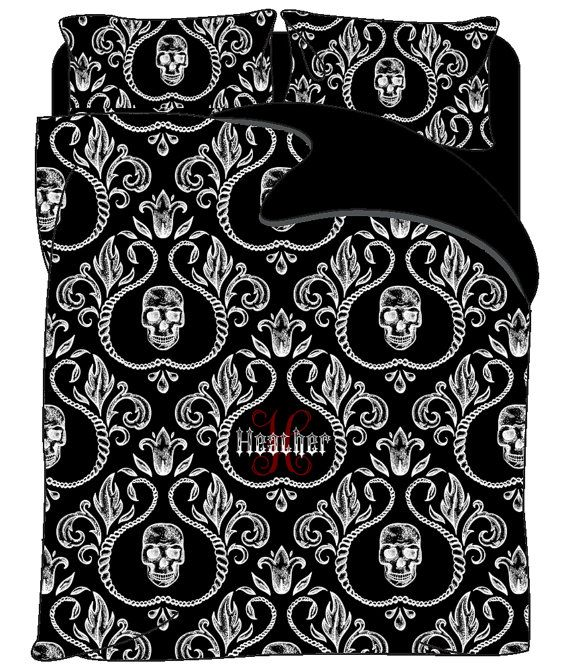 Goth Shower Curtain Part - 47: Gothic Skulls In Floral Frames Bedding. Available White On Black Or Black  On White Options. Personalize/Monogram Options In Center.
