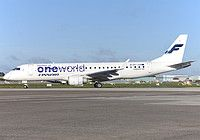 Finnair (member of ONEWORLD) Embraer ERJ-190LR (ERJ-190-100 LR) OH-LKN aircraft, skating at Ireland Dublin International Airport. 16/09/2016.