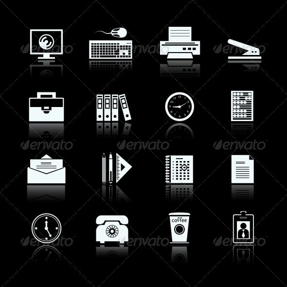 Business Office Supplies Pictograms Set ...  briefcase, business, calculator, calendar, card, case, clock, coffee, collection, computer, documents, envelope, files, folders, icons, id, internet, keyboard, mouse, office, pencil, phone, pictograms, printer, ruler, screen, set, stapler, stationery, supplies