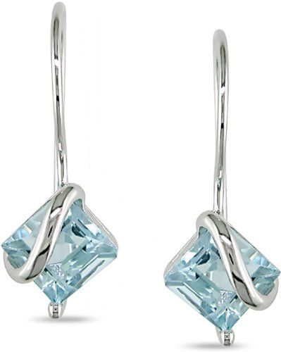 10k White Gold Blue Topaz Earrings Amour
