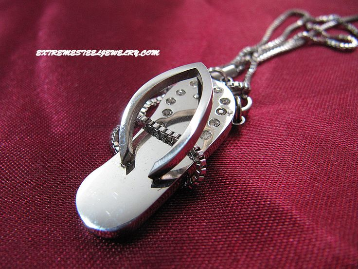 Stainless Steel Pendant Flip Flop Inlay