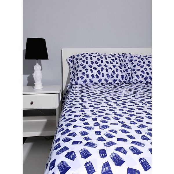 Doctor Who TARDIS Queen Sheet Set Hot Topic ($15) ❤ liked on Polyvore featuring home, bed & bath, bedding, bed sheets, queen pillowcases, queen fitted bottom sheet, queen bedding, queen flat sheet and queen fitted sheet