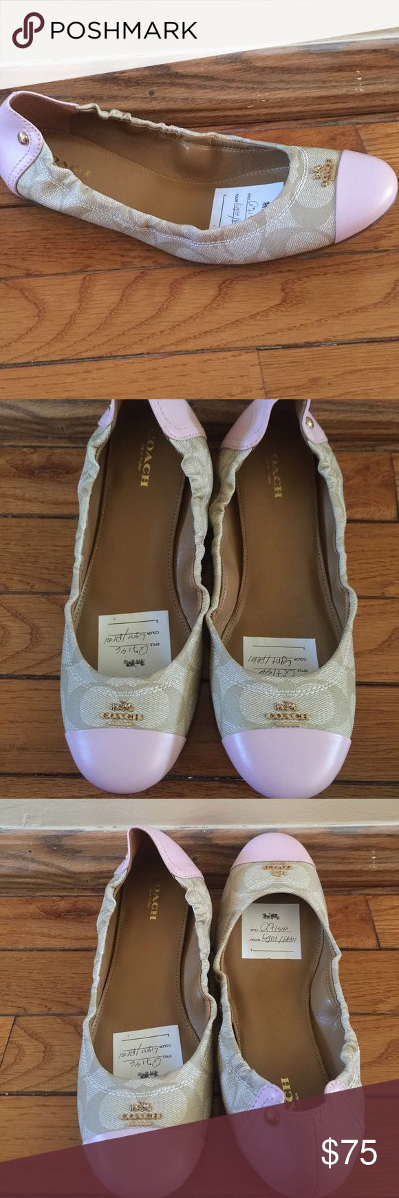 Coach ballerina flats. Coach ballerina flats with signature logo and gold hardware. These are perfect for the summer months. Coach Shoes Flats & Loafers