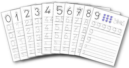 Fiches d'écriture pour apprendre à écrire les chiffres de 0 à 9 en maternelle. Activités à imprimer principalement destinées à des élèves de ms et gs.