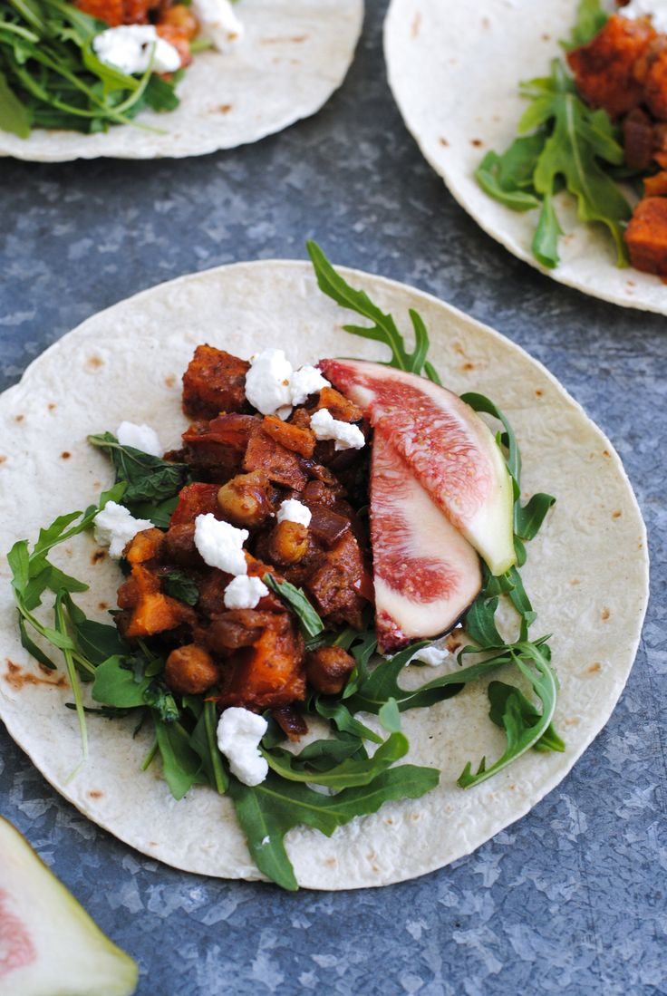 These Sweet Potato + Chickpea Tacos with Goats Cheese + Figs are packed with hearty vegetarian protein - I Quit Sugar.