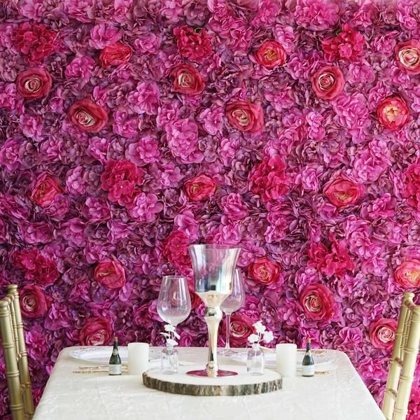 13 Sq Ft 4 Panels Uv Protected Lifelike Assorted Silk Flower Wall Mats Violet Purple Backdrops For Your Weddings Events Celebrations In 2019 Sil