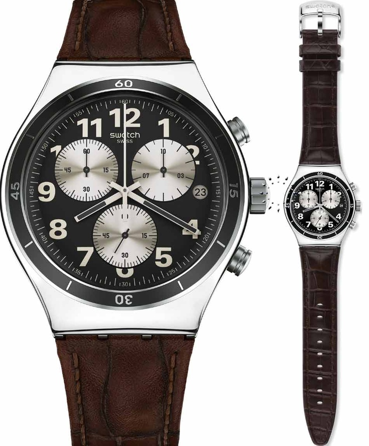 SWATCH Irony Chrono Browned Brown Leather Strap Μοντέλο: YVS400 Τιμή: 130€ http://www.oroloi.gr/product_info.php?products_id=33907