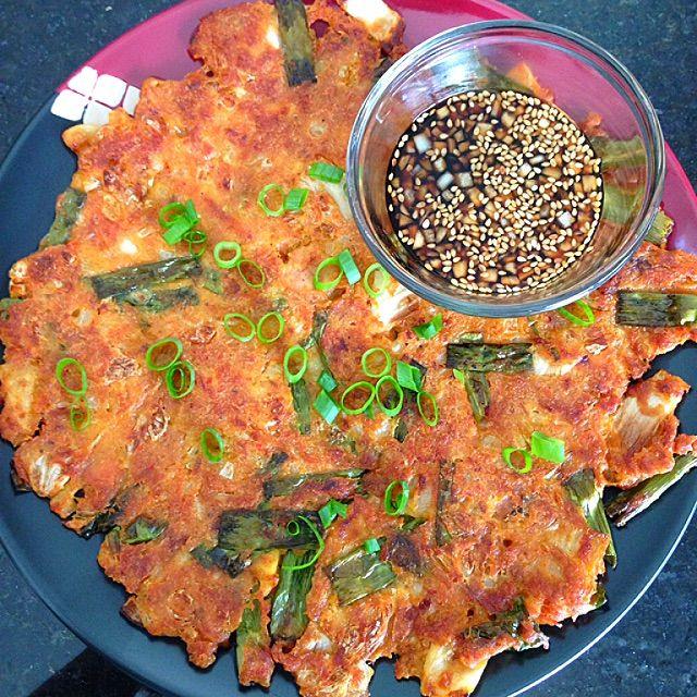 Korean Kimchi, Tuna and Spring Onion Pancakes Recipe - coasterkitchen - Dayre