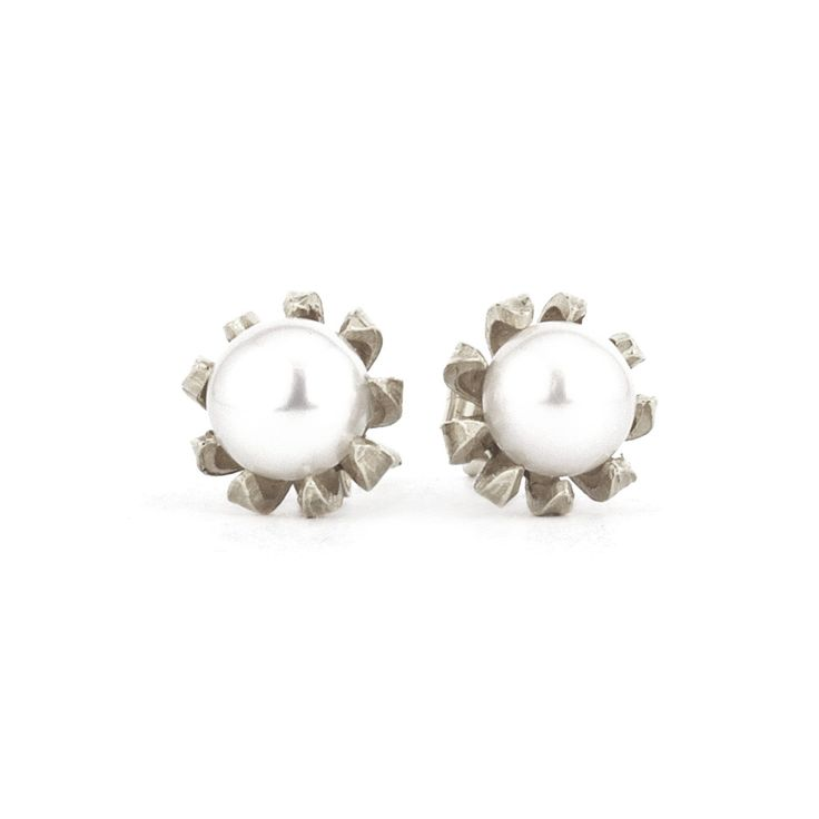 Chrysanthemum Bud Pearl Earrings, Alex Monroe