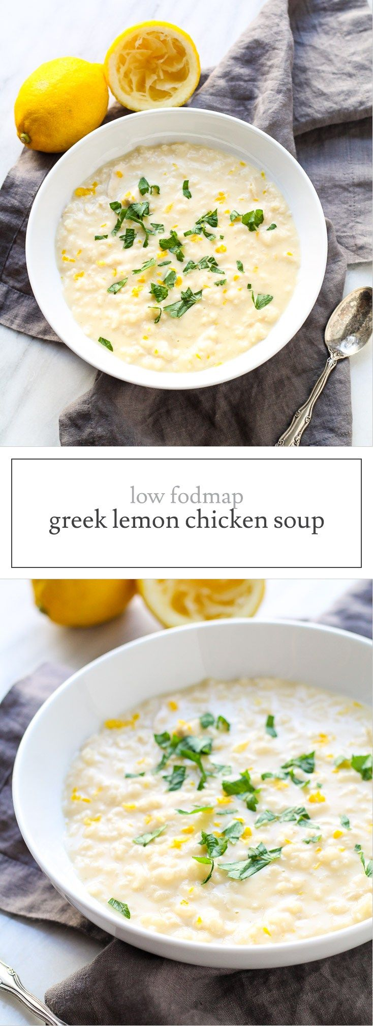 Creamy, comforting and oh-so-good, this Low FODMAP Greek Lemon Chicken Soup is a delicious way to warm up! It's also gluten free and dairy free. | funwithoutfodmaps.com | #lowfodmap #dairyfree #soup