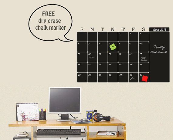 Blackboard Calendar Vinyl Decal Organize Your Month