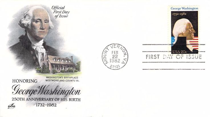 1982 George Washington Hand Colored Art Craft First Day Cover