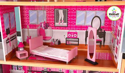 Girly-Sparkle-Mansion-dollhous-30-Pieces-Detailed-Doll-Furniture-Wooden-KidKraft