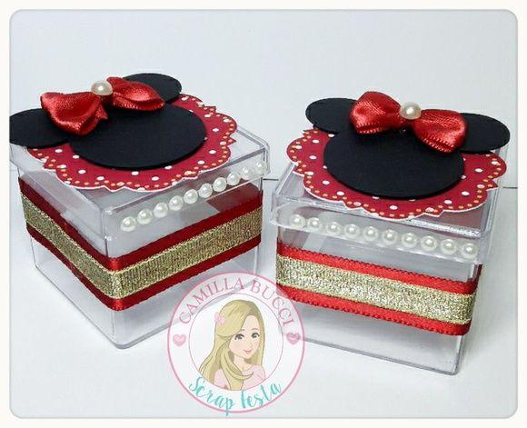 Caixa Acrílica 3D Luxo Minnie