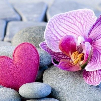 """Deze items; gladde grijze stenen, roze orchidee en eventueel het vilten roze hartje in een glazen bakje (zoals het brede glazen decoratie item uit de slaapkamer, zie dit bord) in de badkamer, geeft ook een extra """"zen-gevoel""""."""