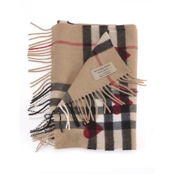 Burberry Sciarpa Con Check E Cuori ($425) ❤ liked on Polyvore featuring accessories, red, checkered scarves, cashmere scarves, red scarves, red shawl and fringe shawl
