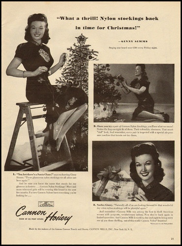 What a thrill! Nylon stockings back in time for Christmas! (That truly must have been wonderful for so many women after years of rationing.)