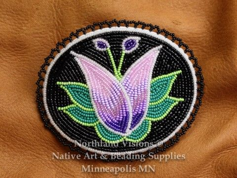 12682-Beaded-Hair-Barret-seed-bead-oval-floral-Ojibwe-woodlands-beadwork