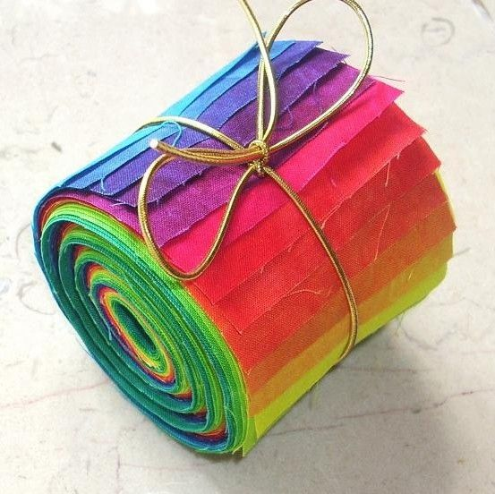 Fabric Jelly Roll BRIGHT Hand Dyed Fabric by RubyMountainDyeWorks