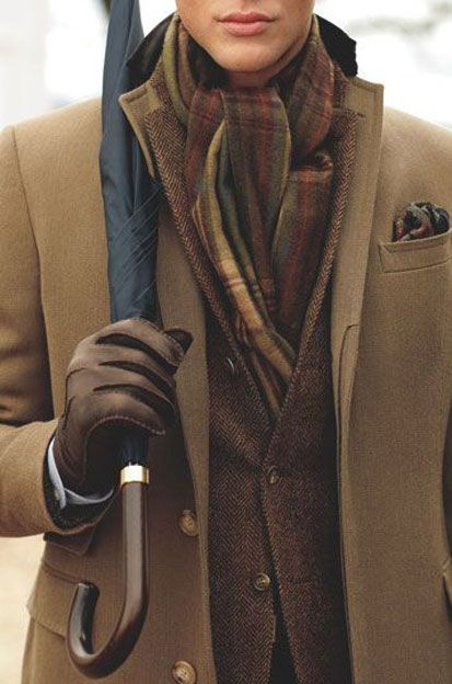 Camel Hair Coat, Tweed Jacket, Cashmere Scarf, Pocket Square, Leather Gloves and Stick Umbrella