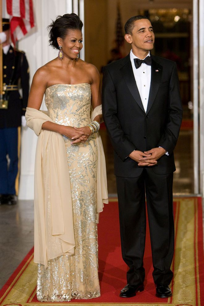 Michelle Obama en robe Naeem Khan