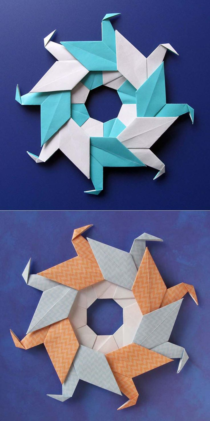 Modular origami, diagrams: Ghirlanda di anatre - Garland of ducks © by Francesco Guarnieri