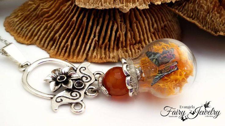 Collana farfalla licheni terrario ampolla  micro giardino agata , by Evangela Fairy Jewelry, 15,00 € su misshobby.com