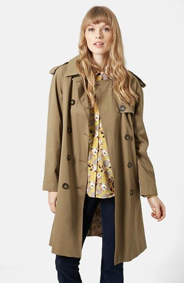 Topshop 'Scout' Double Breasted Trench Coat (Brit Pop-In) available at #Nordstrom