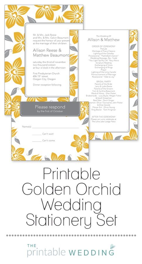 As alluring as a tropical island, these tantalizing orchids are a sweet depiction of the love and beauty of your wedding. Gently cascading blossoms and leaves delicately adorn this wedding set. Ideal for an island or tropical wedding! | Printable Golden Orchid Wedding Stationery Set from #ThePrintableWedding