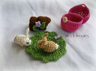 "Bonny Bunny Surprise - Trifles & Treasures. The egg is 3"" tall, by 2.25"" and the rabbits, log and leaf fit inside it. Free crochet pattern."