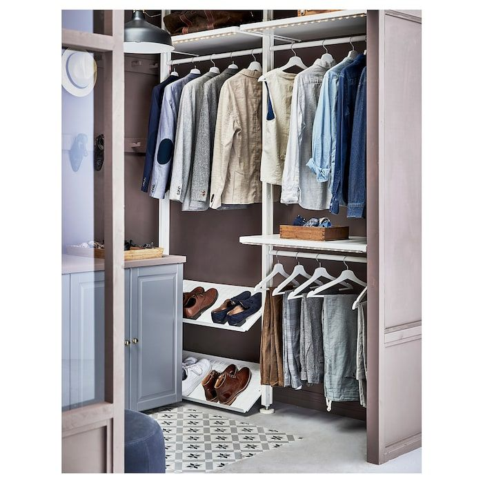 Elvarli 2 Section Shelving Unit White 68 7 8x20x87 1 4 137 3 4 Shelving Unit Ikea Clothes Storage Systems