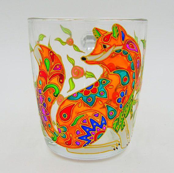 Orange Fox Mug Hand Painted Gift Coffee Tea Handmade