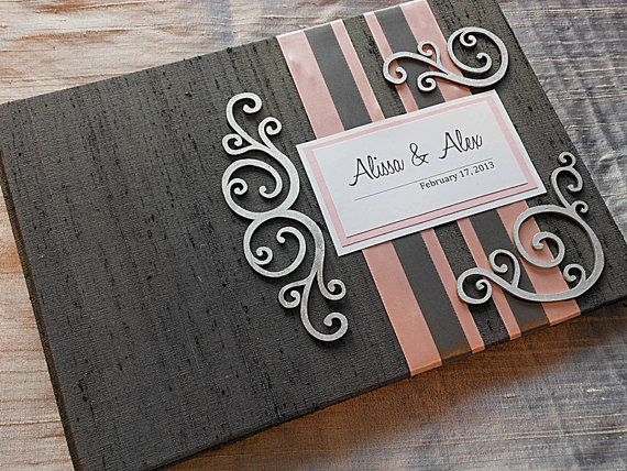 Gray and Light Pink Wedding Guest Book with by EnvelopeGuestBooks, $47.00