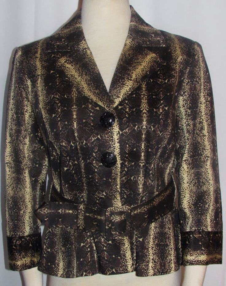 NEW Womens Ladies GRACE ELEMENTS Black Cream Abstract Lined Jacket 6 Orig $94 #GraceElements #Jacket