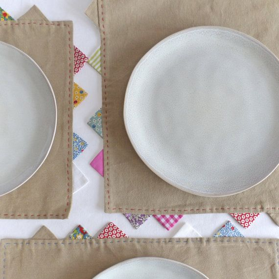 Placemat in heavy cotton with colorful triangles from Join us for Dinner