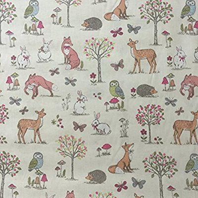 Animal Cream 100% Lifestyle Cotton Print Woodlands Collection Boys/Girls Nursery Kids/Children's Curtains, Bunting, Designer Duvet Covers, Cushions, Upholstery Bedroom Curtains Fabric 54 Inches Wide - Sold by the Half Metre
