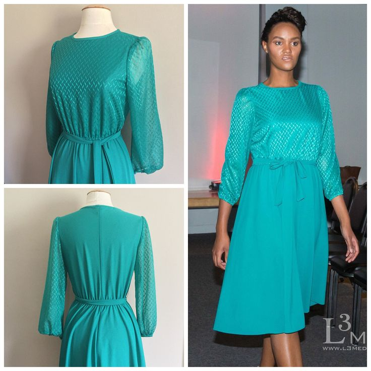 Blue Green Belted Dress // Sheer Long Sleeved Dress // 70s Petite Dress by HeartsAndHearts on Etsy