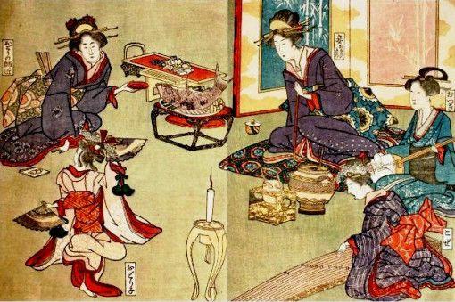 Jantar de gueixas, 1916 Reprodução de gravura de Utagawa Toyokuni (Japão, 1769-1825) xilogravura policromada, 17 x 26 cm
