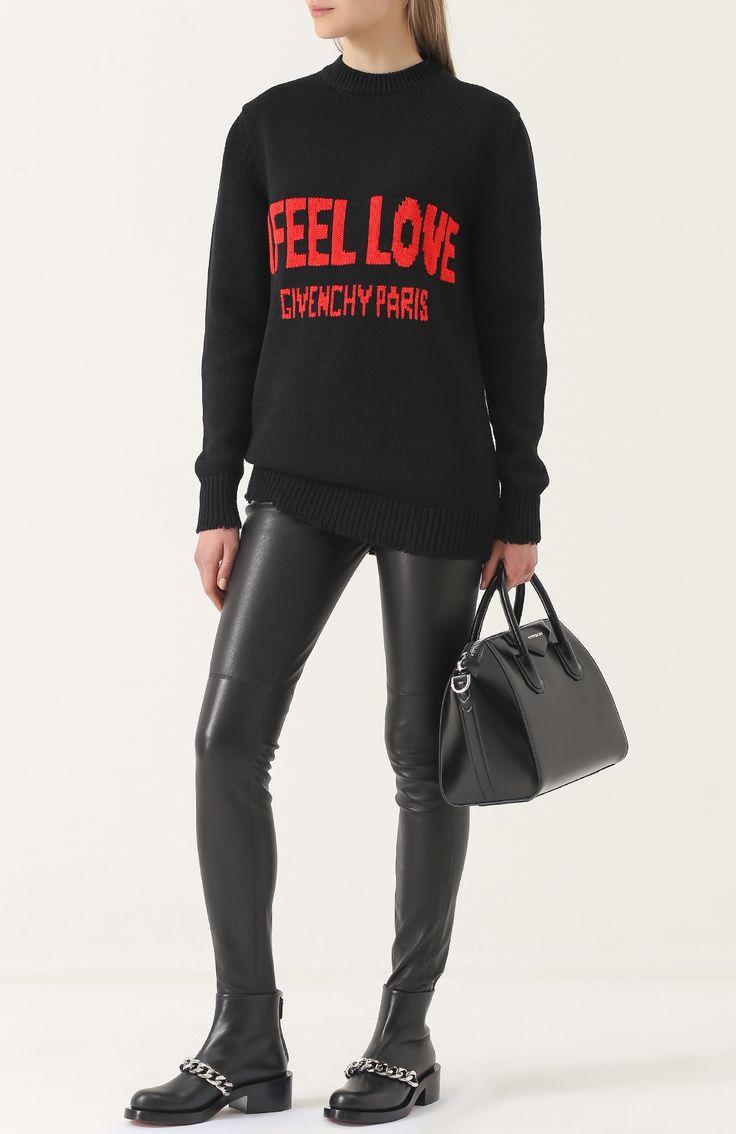 Женские черные кожаные ботинки с массивной цепью Givenchy, сезон FW 17/18, арт. BE08198004 купить в ЦУМ | Фото №2