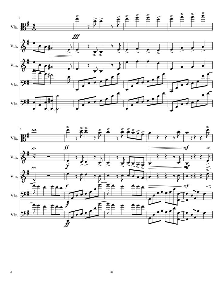 Sheet music made by I am A Minor for 5 parts: Viola, Violin, Violoncello