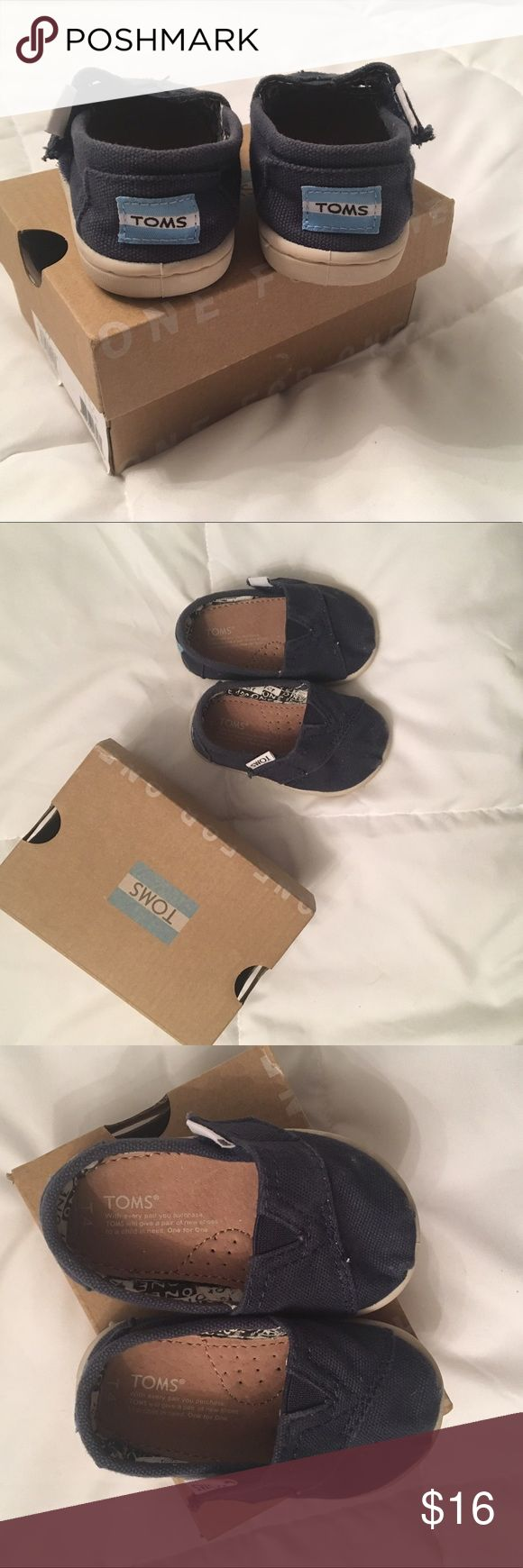 Navy Blue Tiny Toms Tiny Tom's have been worn but still in good condition. Lots of life left! Includes box. Toms Shoes
