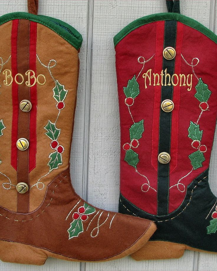 Cowboy Boot Christmas Stockings Design Ideas                                                                                                                                                      More