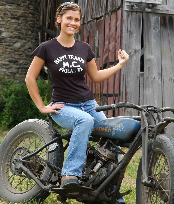 via MotoLady. Wall of Death motorcycle girl sporting the Happy Tramps MC tshirt. (You can actually still snag one on denniskirk.com.)
